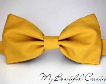 Mustard bow tie, boys bow tie, mens bow tie, wedding bow tie, pre-tied bow tie, ring bearer bow tie, groom bow tie, groomsmen bow tie