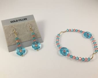 Swarovski® Crystals and Gold Filled Pink & Turquoise Bracelet and Earrings Set