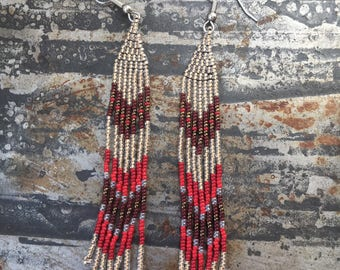 Red seed bead dangle earrings