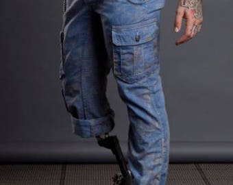 Diablo Over-Dyed Pattern Cargo Pants (Blue/Merlot)