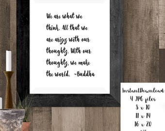 Buddha Quote Art, Manifestation Quote, Printable Buddha Poster, Buddhist Quote, Instant Download, Inspirational Quote, Buddha Art, Yoga Gift