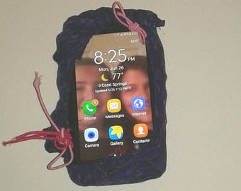 Cell phone  cozy, purple/pink microfiber  fabric,  adjustable,  phone  cover, sleeve,