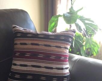 Guatemala Woven Ikat Multi Burgundy / Beige Pillow Cover