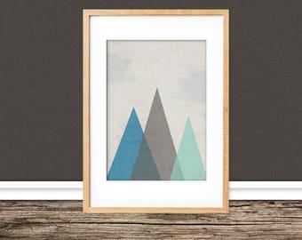 A4 print / / geometric mountains / / poem cottage
