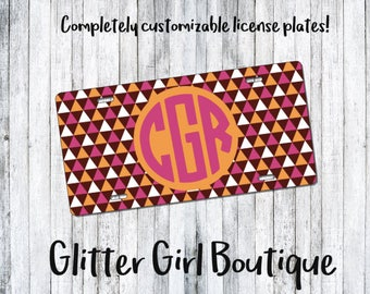 Custom License Plate, Aztec License Plate, Tribal License Plate, License Plate, Monogram License Plate, Car Tag | Gifts for her