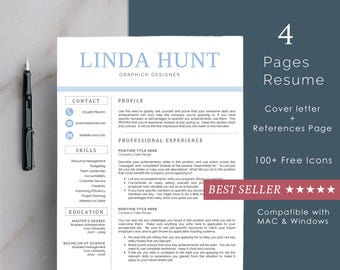 Résumé Templates For Word And Pages (1, 2 U0026 3 Page Resumes + Cover  Pages Resume Template