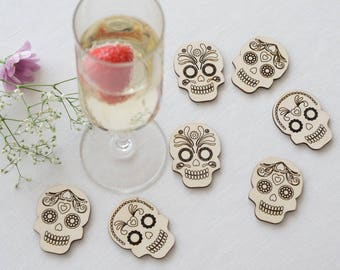 Large rustic wooden sugar skulls. Laser cut and engraved day of the dead skulls ideal for table confetti and scrap booking projects L84