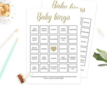 Baby Bingo Cards Gold Glitter Baby Shower Games Printable Baby Shower Bingo Cards Baby Shower Bingo Printable Baby Shower Printable Game GCO