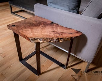 "Mesquite Rough Sawn Live Edge Table with 2"" Flat Steel Legs"