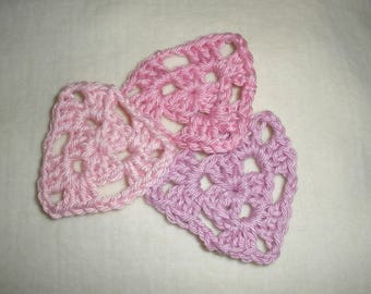 Set of (3) mini granny crochet triangles