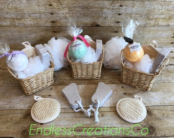 Spa gift basket etsy fizzy bath bomb gift basket fizzy scented shea butter bath bomb gift baskets gift negle Images