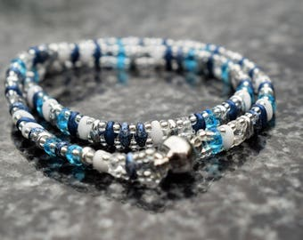 Double wrap superduo bracelet with magnetic clasp