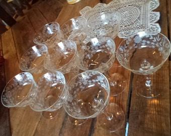 vintage cut glass sorbet glasses. set of 10
