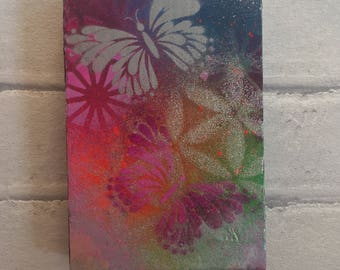 Flight Of The Butterflies - spray paint on wood block