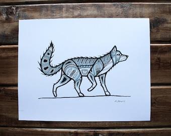 Wolf, Digital Print, 8.5x11