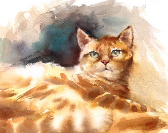 Ginger Tabby Cat Watercolour Painting Q42