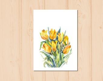 Yellow Tulip Flower Watercolour Painting Drawing Art Print N153