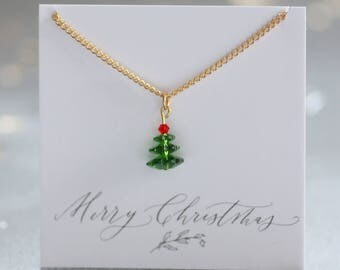 Swarovski crystal christmas tree necklace, christmas tree necklace, christmas jewellery, festive necklace for her, christmas gift ideas