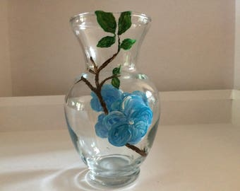 Hand painted glass vase.