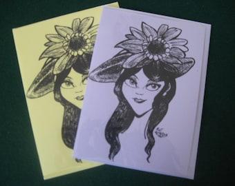 Dark haired Sunflower Girl Original Artwork Cards