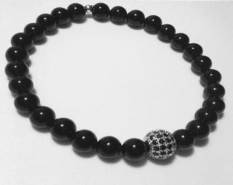 Classy Black Beaded Bracelet
