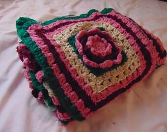 Rose Granny Square Handmade Afghan.