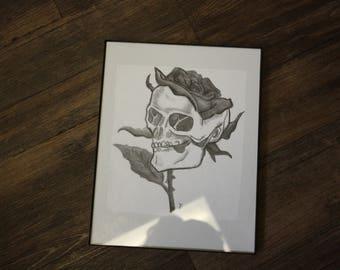 Black and white skeleton rose drawing