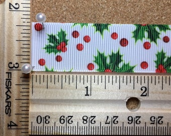 Red Green Christmas Holly Berries 7/8 inch Grosgrain Ribbon