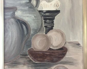 "Still Life ""jugs, balls and candles"""