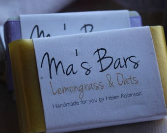 Lemongrass and oats natural cold processed soap