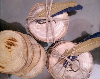 Coasters made from tree limbs