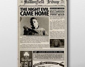 Halloween Michael Myers Inspired Mock Newspaper Art Print