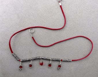 Beaded suede lace necklace