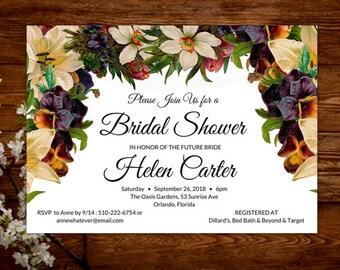 Floral Bridal Invite - Floral Bridal Invitation - Bridal Tea - Bridal Brunch - Bridal Luncheon - Bridal Shower Invitation Printable