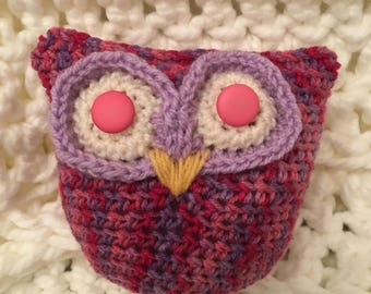 Pink and Purple Owl. Crochet toy owl.
