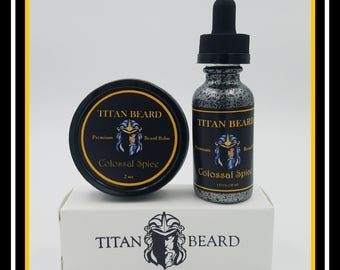 Colossal Spice Premium 1oz Beard Oil & 2oz Tin of Beard Balm Pack.  Handcrafted in the USA. All Natural Ingredients. FREE Domestic Shipping