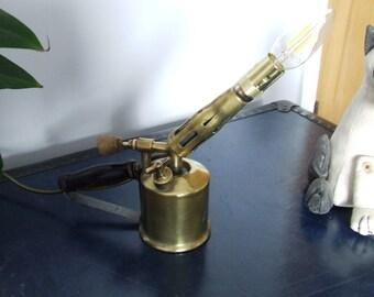 Vintage blow lamp desk light