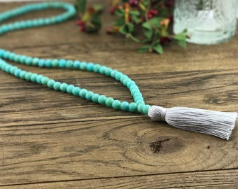 Turquoise Bead Necklace, Beaded Tassel Necklace, Turquoise Tassel Necklace, Boho Tassel Necklace, Silver Tassel Necklace, Beaded Necklace,