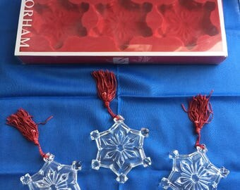 Snowflake ornaments by Gorham