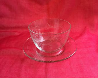 Vintage clear etched glass mayonnaise bowl and underplate