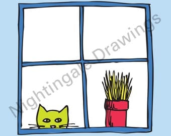 Cat Looking Through Window Illustration - Original 8 x 8 Download