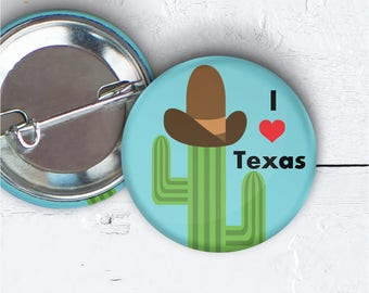 "I Love Texas Button, 1.5"" Pin-back Button, I Love I Love Texas Pin, I Love I Love Texas Badge, I Love Texas Button Flair, Texas Button 002"