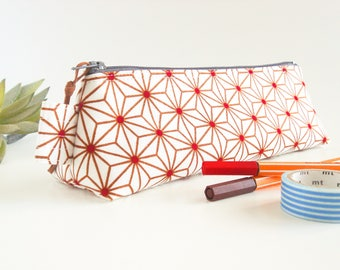 Geometric Stars Pencil Case, Japanese Star Pattern Zipper Pouch, Small Stationery Pouch, Desk Accessory, Makeup Brush Pouch, Student Gift