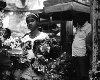 "Cuban Flower Girl 8""x8"" Black & White Photograph"
