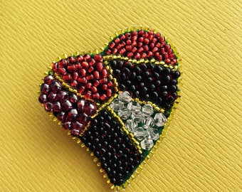 Jewelry embroidery  Sead Beaded Brooch Red love Heart