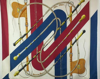 HERMES PARIS vintage beige,nevi blue and red brown silk scarf - like new condition.