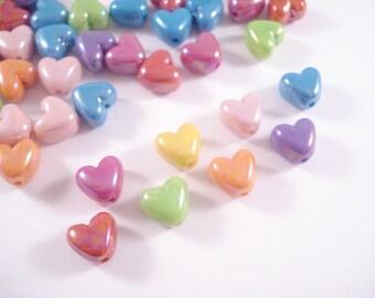 Heart Beads 10mm x 200 - Iridescent Colour Mix