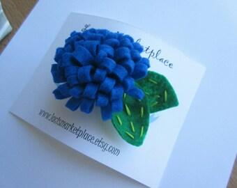 Beautiful blue felt flower bloom hair bow/clip/barrette