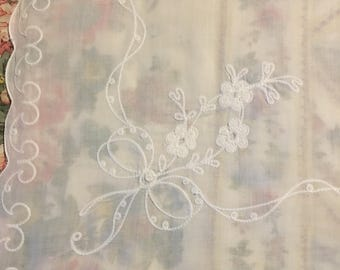 Vintage Sheer Tablecloth, Hand-Embroidered, Shabby Chic