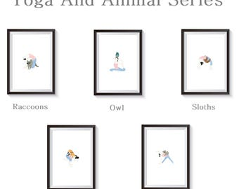 Yoga And Animal Series Illustration Art Print Wall Artwork by UD Misi (30 X 40 CM) 11.81 in. by 15.75 in. - Unframe